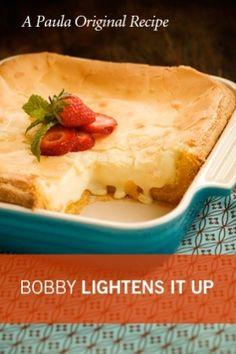 Paula Deen Bobby's lighter gooey butter cake direct link: http://www.pauladeen.com/recipes/recipe_view/bobbys_gooey_butter_cake/