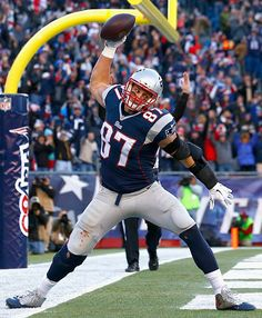 Rob Gronkowski of the New England Patriots reacts after catching a touchdown pass during the third quarter against the Miami Dolphins at Gillette Stadium on December 2014 in Foxboro,. Get premium, high resolution news photos at Getty Images Boston Sports, Nfl Sports, Nfl Football, American Football, Football Helmets, European Football, College Football, New England Patriots Football, Patriots 2017