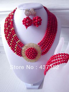 2014 New Fashion Nigerian Wedding African Beads Jewelry set Red Coral Beads Bridal Jewelry Set CWS-247