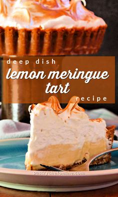 If a key lime pie and a lemon meringue pie rubbed shoulders, the result would be this magical deep dish lemon meringue tart. With mile-high Swiss meringue topping a creamy sweet-tart lemon filling all nestled into a deep dish tart pan, this is a show stopping lemon dessert that is also pretty easy to make! #lemontart #lemonmeringuetart #lemonmeringue #swissmeringue #deepdishtart #lemonmeringuepie #lemondessert #pastrychefonline Citrus Recipes, Easy Pie Recipes, Cream Pie Recipes, Tart Recipes, Best Dessert Recipes, Just Desserts, Lemon Meringue Tart, Swiss Meringue, Meringue Pie