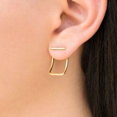 Gold stud earrings, womens gift for women, gift for her, ear jacket earrings, gold earrings, minimalist earrings, minimal earrings,bar studs