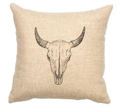 Wooded River Bull Skull Throw Pillow