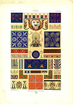 Lithograph by Albert Charles Auguste Racinet from his monumental series, L'Ornement polychrome (Color Ornament).Racinet's L'Ornement polychrome, was an important record of the use of colour in ornamentati Greece Design, Greek Pattern, Art Ancien, High Renaissance, Greek Art, Free Illustrations, Illuminated Manuscript, Ancient Greece, Textures Patterns