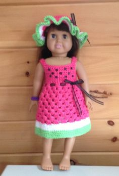 Crochet sundress and hat for 18 inch doll