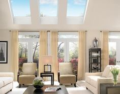 Placing skylights above windows is an ideal situation to reduce glare in the room.