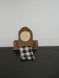 Wooden Mirror with Plaid Towel Vintage Dollhouse Miniatures Accessories #Unbranded