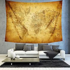 Rustic golden brown world map tapestry boho world map wall decor brown world map tapestry boho world map wall by christinedecorshop gumiabroncs Images