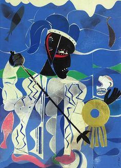 Poseidon, the Sea God, Enemy of Odysseus by Romare Bearden, 1977. Collage of various papers with foil, paint, ink, and graphite on fibreboard | The Thompson Collection, Indianapolis, Indiana. ~via Arte Moderna, FB