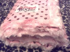 Snuggly Minky Baby Blankets - This one is Pink with Brown Polka Dot with Pink Swirl Minky  - So many more available and ready to ship at www.SnuggleBugZZZ.etsy.com