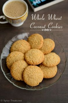 Whole Wheat Coconut Cookies - Whole Wheat Flour 1 cup(I used Nature's Fresh Whole Wheat Atta) Sugar cup* Unsweetened Dessicated Coconut cup 2 tbsp for garnish Butter, softened cup Salt a pinch Vanilla Extract tsp Milk 2 tbsp or as nedded Eggless Cookie Recipes, Eggless Desserts, Eggless Baking, Easy No Bake Desserts, Easy Baking Recipes, Snack Recipes, Dessert Recipes, Baking Desserts, Cake Recipes