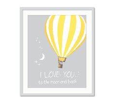 I Love You To The Moon, Hot Air Balloon, Yellow Grey Nursery, Hot Air Balloon Print, Balloons, Nursery Wall Art on Etsy, $16.84 AUD
