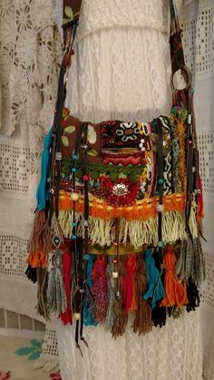 Handmade Fringe Carpet Bag Cross Body Purse Gypsy Hippie Boho Hobo Tribal tmyers #Handmade #MessengerCrossBody
