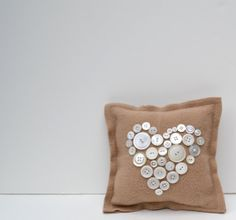 Wool pillow buttons heart tan wool felt square love by SunnyLemons, $24.00