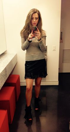#LeatherandLace Sweater, leather skirt and booties by www.freepeople.com