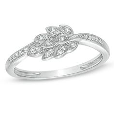 Diamond Accent Leaves Cluster Ring in 10K White Gold - Zales $209