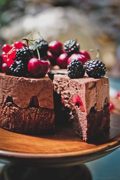 Black Forest Mousse Cake~T~ Scroll down for this recipe. Chocolate cake topped with chocolate mousse. Cherries, blackberries and red currants.