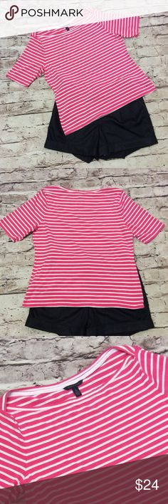 "SZ XL TOMMY HILFIGER PINK & WHITE BOAT NECK TOP Dreamy soft and a cute boat neck. Bright pink and white stripe. Gently used. Measurements lying flat Armpit to armpit 21"" length 25"" Tommy Hilfiger Tops Tees - Short Sleeve"