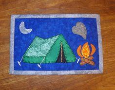 camping fireside mug rug pattern