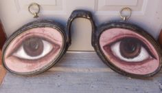 Antique 1880's Advertising BRASS SIGN 2-sided Optometrist's EYES SIGN Kentucky