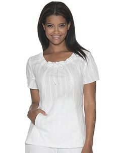 white nurse scrub top by Skechers with a softly shirred drawstring on the front which gives a very feminine look Sewing Clothes Women, Clothes For Women, Work Clothes, Medical Scrubs, Nurse Scrubs, White Scrubs, Nurse Costume, Work Uniforms, Scrub Tops