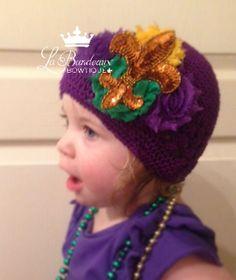 Fleur de Lis Purple Crochet Kufi Hat/ Beanie by LaBandeauxBowtique, $15.00