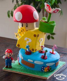 Sculpted cake. Gravity defying Super Mario Bros.