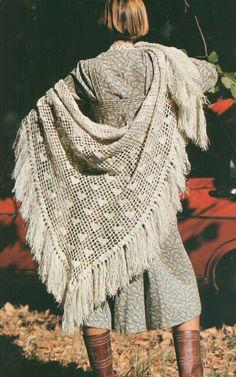 Vintage 1970s Crochet Heart Shawl Pattern PDF
