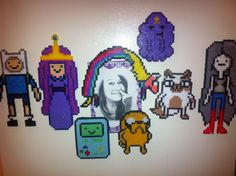 Adventure time perler bead magnet characters, made by me!