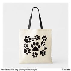 Shop Paw Print Tote Bag created by DmytraszDesigns. Printed Tote Bags, Cotton Tote Bags, Ben Y Holly, Funny Throw Pillows, Cat Themed Gifts, Diy Tote Bag, Bracelet Tutorial, Fabric Painting, Small Bags