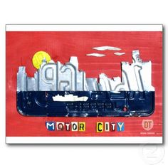 Detroit The Motor City Skyline License Plate Art Postcards by Design Turnpike.