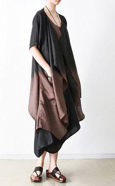 khaki summer linen dress oversize casual sundress short sleeve two pieces maxi dresses