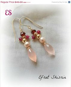 ON SALE Gold pink earrings / rose quartz ruby by EfratShifrin