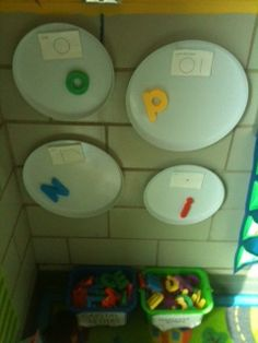 stove burner covers (attached to the wall with velcro) and magnetic letters