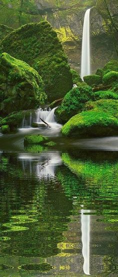 Elowah Falls near Warrendale in the Columbia River Gorge of Oregon • photo: Zeb Andrews on Flickr • NOTE: bottom half photoshopped by unknown artist