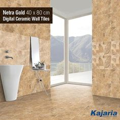 Refurbish your home and give it the look it deserves with our range of Netra Gold 40X80 cm Digital Ceramic Wall Tiles. #KajariaCeramics