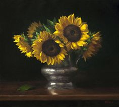 """Sarah Lamb, """"Sunflowers,"""" oil on linen, 18 x 20 in. (c) Tree's Place Gallery 2016"""
