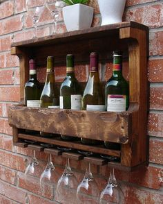 Corvallis Rustic Wine Rack with 5 Glass Holder and by KeoDecor, $65.00