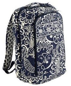 ebe9d9814c61 New with Tag Vera Bradley Laptop Backpack Twirly Birds Navy