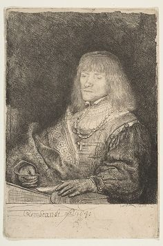Man at a Desk Wearing a Cross and Chain Rembrandt (Rembrandt van Rijn)  (Dutch, Leiden 1606–1669 Amsterdam) Date: 1641 Medium: Etching and drypoint Dimensions: sheet: 6 x 4 1/8 in. (15.3 x 10.5 cm) Classification: Prints Credit Line: Gift of Henry Walters, 1917 Accession Number: 17.37.4