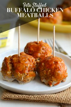 Make these feta stuffed buffalo chicken meatballs on game day for a flavorful appetizer baked in under 30 minutes!