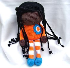 Crochet Doll Made to Order Custom Colors African American by TootyLou