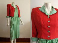 1940s Silk Dress / 1940s Silk Halter Dress Suit / by AntiqueGraces
