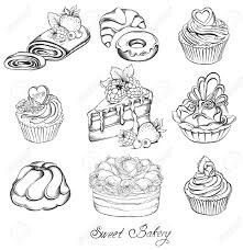 Collection Hand Drawn Of Various Beautiful Cakes And Cupcakes Sketch Vector Illustration