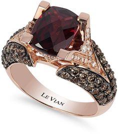Le Vian Raspberry Rhodolite Garnet (3 ct. t.w.), Chocolate Diamond (1-1/5 ct. t.w.) and White Diamond Accent Ring in 14k Rose Gold