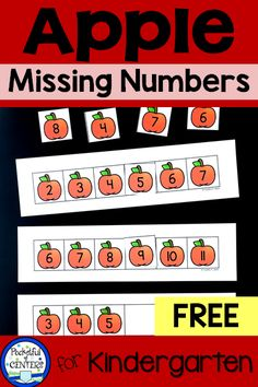 This apple themed math FREEBIE is fun for FALL centers and morning bins! Count to find the missing numbers from Place an apple number card on the missing number. Great for PreK and Kindergarten! Numbers Kindergarten, Kindergarten Math Activities, Counting Activities, Preschool Math, Kindergarten Teachers, Numbers Preschool, Maths, Preschool Apple Theme, Apple Activities