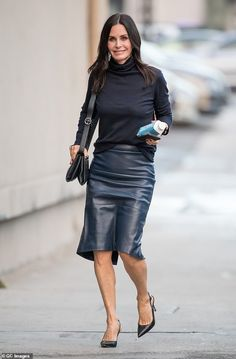 Courteney Cox cuts a cool figure in leather dress as she arrives Jimmy Kimmel Live! Fashion 2018, Fashion Outfits, Black Leather Skirts, Courtney Cox, Beautiful Celebrities, Hottest Photos, Leather Fashion, Celebs, Friends Cast