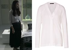 "Choi Ji-Woo 최지우 in ""Temptation"" Episode 10.  Donna Karan Georgette Long Sleeve Blouse #Kdrama #Temptation 유혹 #ChoiJiWoo"