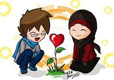 70 Cute Couple Art, Anime Love Couple, Couple Cartoon, Cute Muslim Couples, Muslim Girls, Cute Couples, Hijab Anime, Anime Muslim, Islamic Cartoon