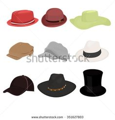 hat set of nine isolate on white background stock vector from the largest library of royalty free images only at shutterstock awesome office table top view shutterstock id