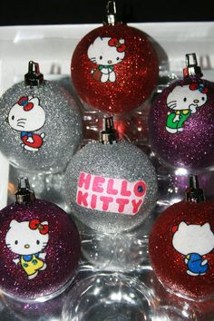 Adorable Hello Kitty Glitter Ornaments. Perfect for a mini Hello Kitty Christmas tree.